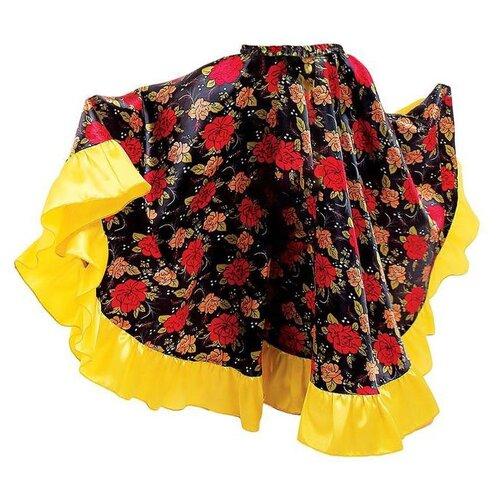 Купить Цыганская юбка для девочки Страна Карнавалия с желтой оборкой по низу, длина 67 (рост 122-128) (2465720), Карнавальные костюмы