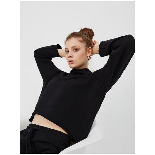 Худи KVATI HW16441M/толстовка женская/укороченная/короткая/с вышивкой/с капюшоном/черная