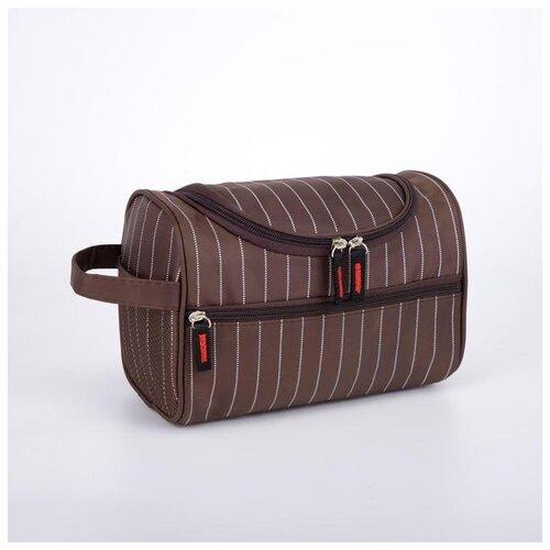 Косметичка дор L- 713, 22,5*13*17, отд на молнии, н/карман, полосы коричневый 6491126