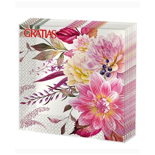 Салфетки бумажные 3сл 33см 20л Gratias Букет георгин