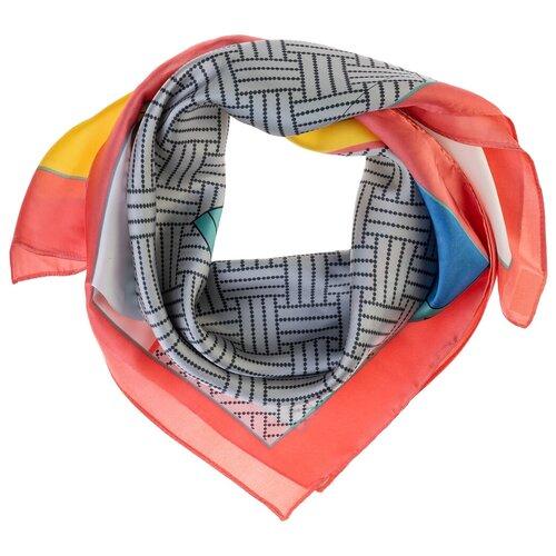 Шелковый платок на шею/Платок шелковый на голову/женский/Шейный шелковый платок/стильный/модный /21kdg70951101-17vr розовый,желтый/Vittorio Richi/80% шелк,20% полиэстер/70x70