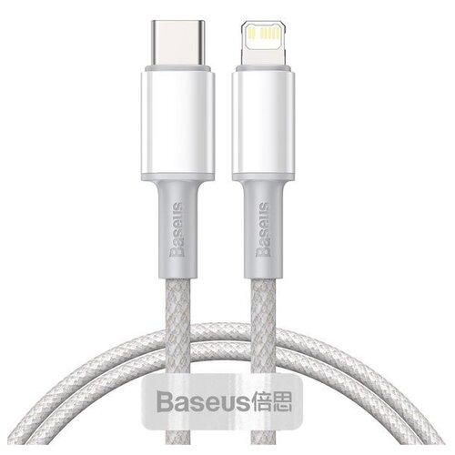 Кабель Baseus High Density Braided Fast Charging Data Cable Type-C - Lightning PD 20W 1m Белый CATLGD-02 кабель baseus high density braided fast charging cable usb type c usb type c 5 a 1 м цвет