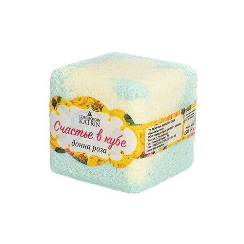 Лаборатория Катрин Бурлящий кубик для ванн Счастье в кубе Донна роза, 130 г