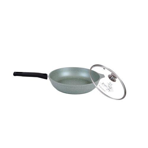 Сковорода Kukmara Мраморная 26604а, 26 см, с крышкой, съемная ручка, фисташковый мрамор сковорода d 24 см kukmara кофейный мрамор смки240а