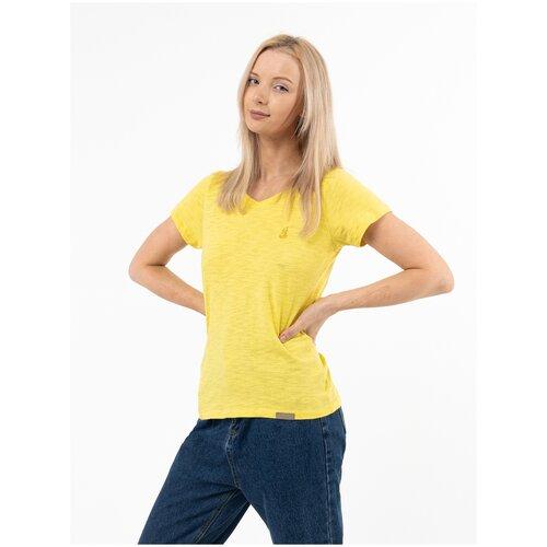 Женская футболка Великоросс желтого цвета V ворот 50-52