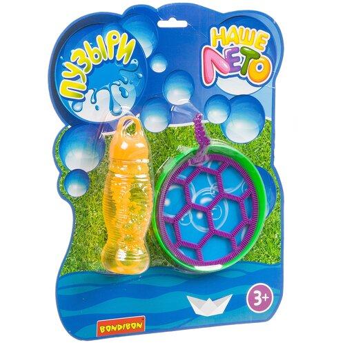 Мыльные пузыри с рамками и тарелкой-фрисби Bondibon Наше Лето, 115 мл ВВ2802 фиолетовый/зеленый/желтый недорого