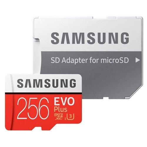 Фото - Карта памяти Samsung microSDXC EVO Plus UHS-I (U3) 256 GB, чтение: 100 MB/s, запись: 90 MB/s, адаптер на SD карта памяти samsung 128 gb microsdxc class 10 uhs i evo mb mc 128 ga ru