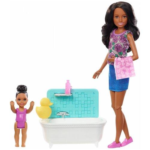 Фото - Набор кукол Barbie Няня Скиппер, FXH06 кукла mattel barbie скиппер няня в клетчатой юбке с малышом и аксессуарами grp11