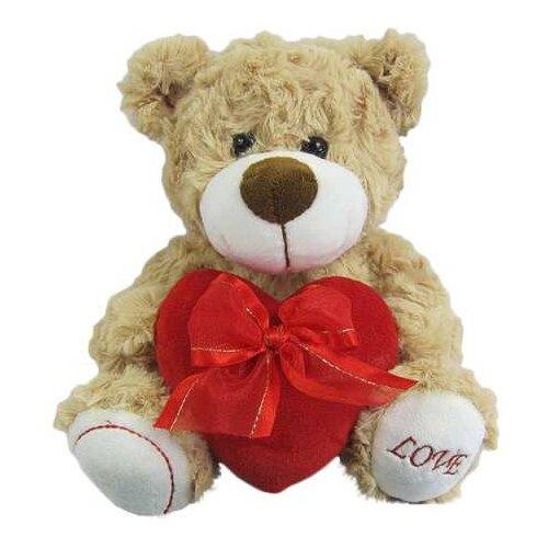 Мягкая игрушка ABtoys Медведь коричневый, с сердцем Love, 18 см (M5067)