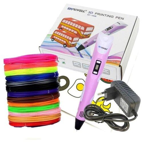 Купить 3D ручка MyRiwell RP100B (150 м ABS + трафареты) розовый, 3D-ручки