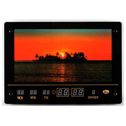 Часы настенные электронные 21 Век Закат на морском острове черный
