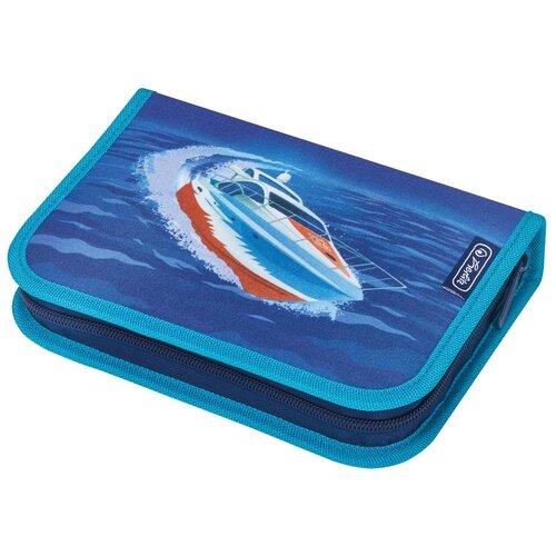 Пенал Herlitz Oceanside Катер, синий, с наполнением 31 предмет
