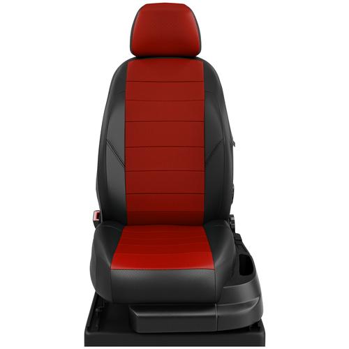 Авточехлы для Volkswagen T-4 с 1998-2003г. фургон 2 места - фургон. Рядность: 1+1 (+2 подлокотника) (Фольксваген Т-4). ЭК-06 красный/чёрный