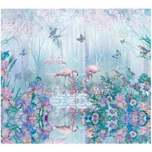 Фотообои флизелиновые Топ Фотообои Райский сад с фламинго в голубом цвете 300х270 (ШхВ) бирюзовый/темно-бирюзовый/серо-голубой/светло-голубой/светло-розовый недорого