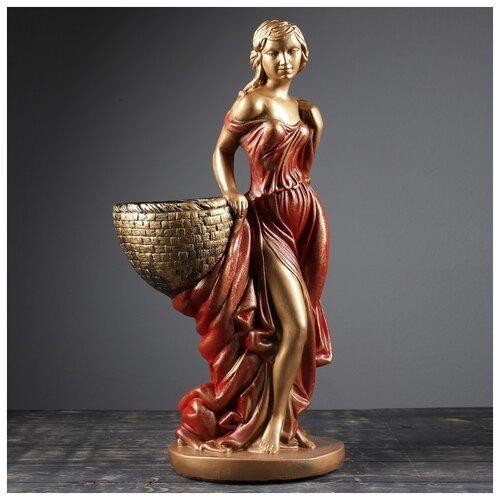 Фигура с кашпо Девушка с корзиной бронза красный 64см 3502942 фигура девушка сидя кашпо на плече бронза 58см 302969