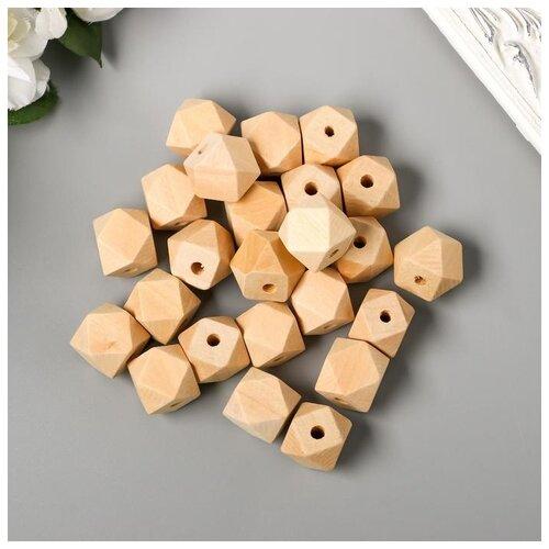 Купить Набор деревянных многогранных бусин 18 мм, набор 35 шт. 6243609, Сима-ленд, Фурнитура для украшений