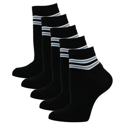 Женские укороченные носки Годовой запас, 5 пар, черные, 23 (36-38)