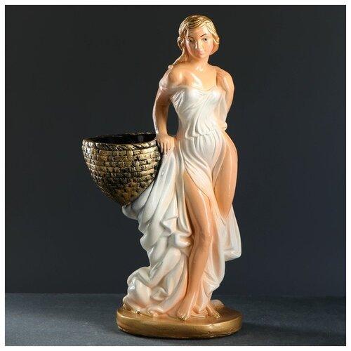 Фигура с кашпо Девушка с корзиной персик/ золото 64см 2713002 фигура с кашпо девушка с корзиной бронза цвет красный 64см
