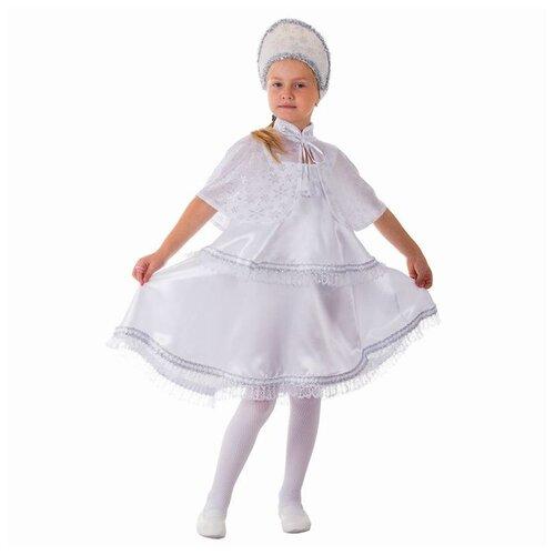 Купить Карнавальный костюм Снежинка , сарафан 2-ярусный, пелерина, кокошник, р-р 64, рост 128 см, Страна Карнавалия, Карнавальные костюмы