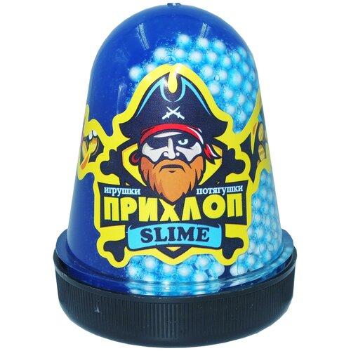 Лизун Слайм Прихлоп флуоресцентный с шариками синий