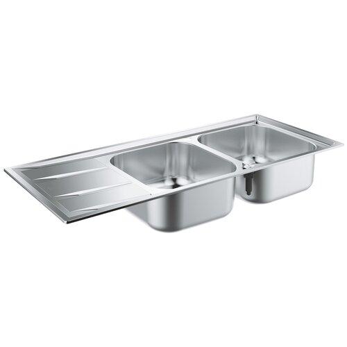 Врезная кухонная мойка 116 см Grohe K400 31587SD0 нержавеющая сталь врезная кухонная мойка 87 3 см grohe k400 31568sd0 нержавеющая сталь