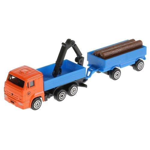 Фото - Грузовик ТЕХНОПАРК Камаз с краном + прицеп (SB-17-83WB), 8.5 см, оранжевый/синий анастасия орлова это грузовик а это прицеп