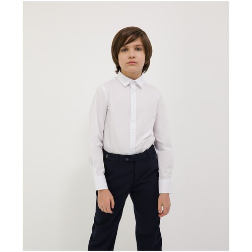 Сорочка белая с длинным рукавом Gulliver для мальчиков, цвет белый, размер 164, модель 200GSBC2303
