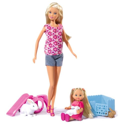 Фото - Набор кукол Steffi Love Штеффи и Еви с кроликами, 29 и 12 см, 5732156029 набор кукол simba еви с малышом на прогулке розовая коляска 12 см 5736241 2