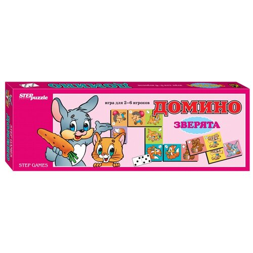 Фото - Настольная игра Step puzzle Домино Зверята настольная игра step puzzle лесное царство