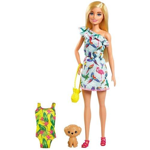 Фото - Кукла Mattel Barbie, Барби блондинка в платье, с питомцем и аксессуарами (GRT87) кукла mattel barbie скиппер няня в клетчатой юбке с малышом и аксессуарами grp11