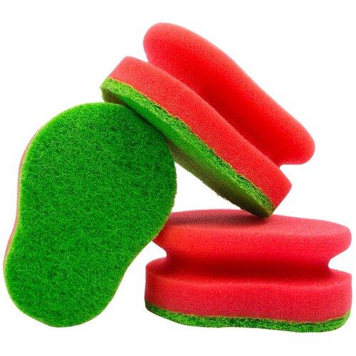 губка aqualine для мытья автомобиля Губка для мытья посуды aQualine, 3 шт, зеленый/красный
