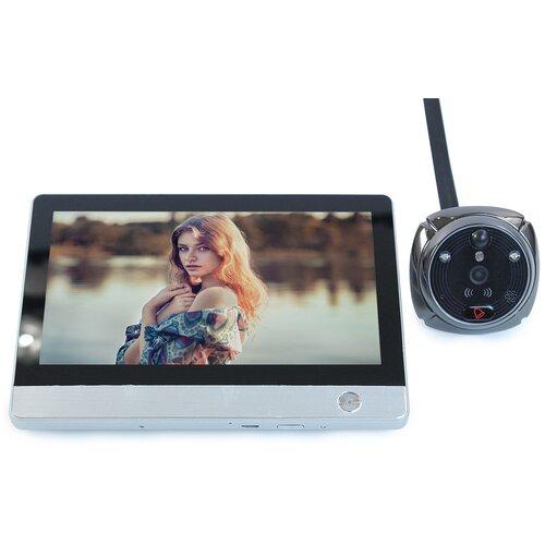 Дверной GSM / Wi-Fi видеоглазок (серебро) - iHome-4 - видеоглазок с датчиком / видеоглазок движение / видеоглазок запись движения