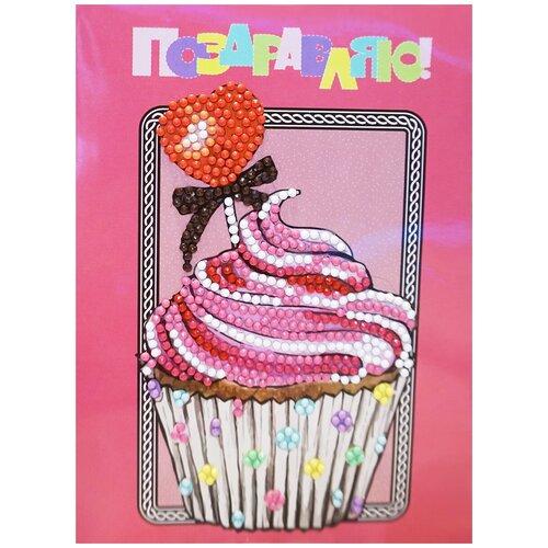 Купить Алмазная открытка Color Kit Десерт. Поздравляю! 13х18 AZ014, Алмазная вышивка