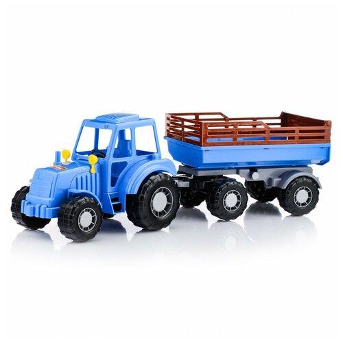 Трактор Полесье Алтай синий с прицепом №2 в сеточке Полесье