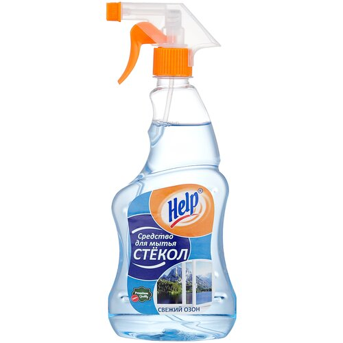 Спрей Help Свежий озон для мытья стекол (триггер), 500 мл средство для чистки стекла help свежий озон 5 л