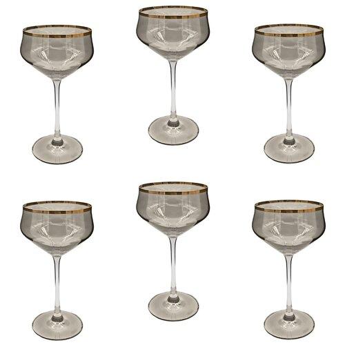 Набор стеклянных бокалов для мартини, 6 штук, 235 мл, цвет черный прозрачный, MARMA MM-SET-74