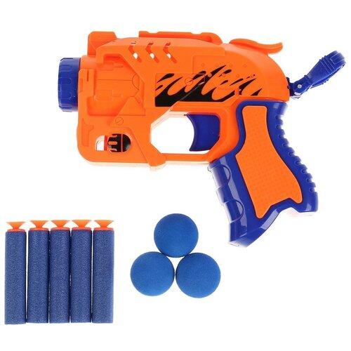 Фото - Игрушка Бластер с мягкими пулями и шариками, Играем вместе игрушечное оружие играем вместе бластер стреляющий шариками по кеглям