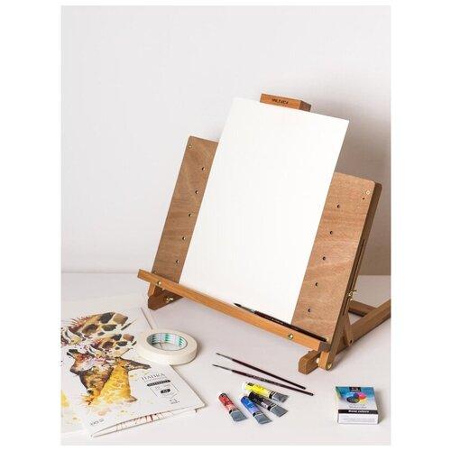принадлежности для рисования малевичъ зажим для бумаги металлический 75 мм 6 шт Набор для рисования акварелью Малевичъ стартовый, 830219