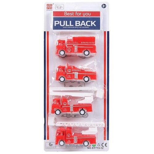 Купить Набор пожарных машинок Junfa 4 шт, пластмассовые, инерционные, 14*3, 7*7 см (SY713-12X), Junfa toys, Машинки и техника