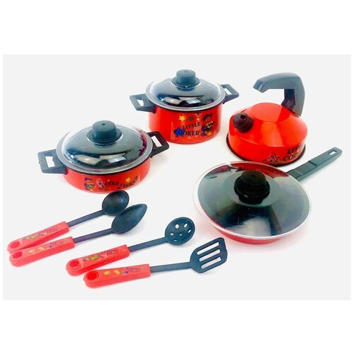 Детский игровой набор посуды 126 Little Cooker, 11 предметов: кастрюли, сковорода, крышки, половник, шумовка, ложка, лопатка, 26,5х24х11 см