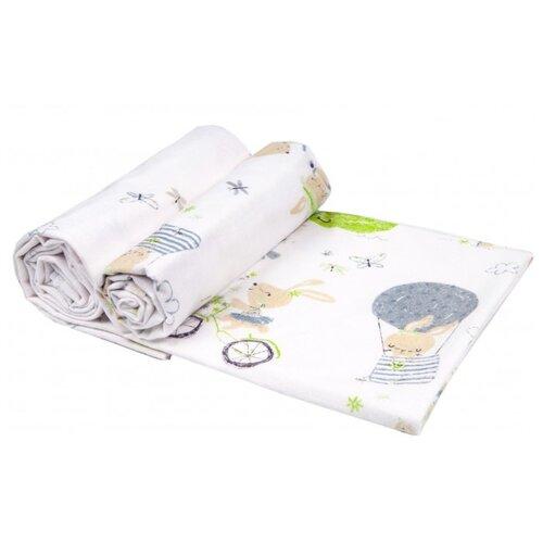 Купить Многоразовые пеленки Daisy фланель 90х145 комплект 2 шт. зайчата на вело, салатовый, Пеленки, клеенки