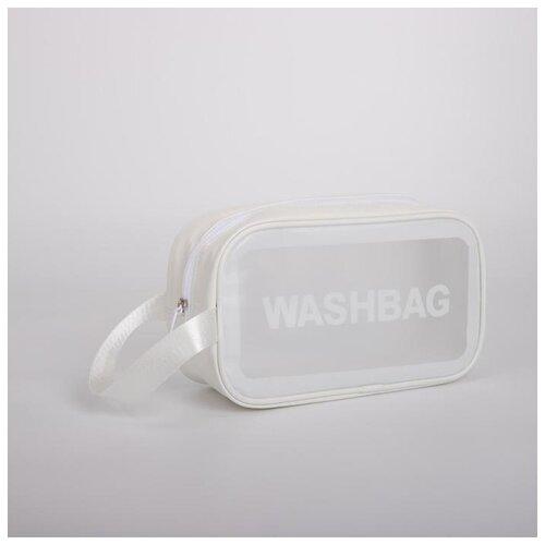 Косметичка ПВХ WashBag, 24,5*9,5*14,5 см, отдел на молнии с ручкой, белый 5448327