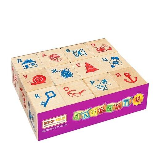Кубики Пелси Алфавит и рисунок, 12 шт. И674