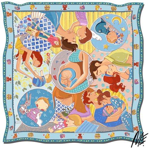 Платок женский шелковый, платок с авторским арт-принтом Оланж Ассорти