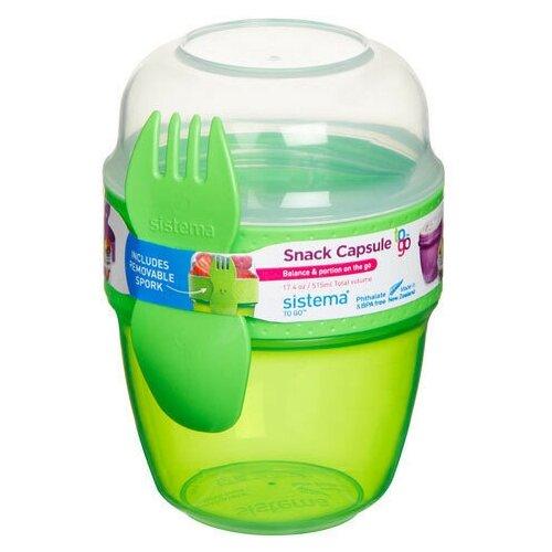 Фото - Sistema Контейнер двухуровневый Snack Capsule TO GO (21488) 0,515 л, 9x9.5 см, green контейнер двухуровневый to go 1 4 л 14 5х15х9 6 см 21731 sistema