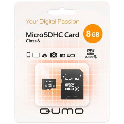 Фото - Карта памяти Qumo microSDHC class 6 + SD adapter 8 GB, адаптер на SD карта памяти qumo microsdhc class 10 sd adapter 32 gb адаптер на sd