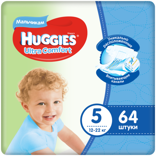 Купить Huggies подгузники Ultra Comfort для мальчиков 5 (12-22 кг), 64 шт., Подгузники