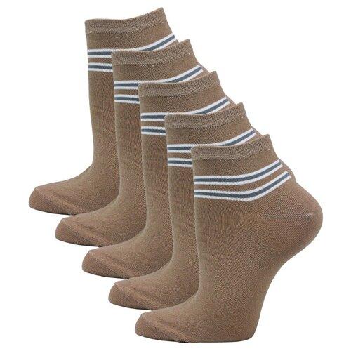 Женские укороченные носки Годовой запас, 5 пар, бежевые, 25 (39-41)