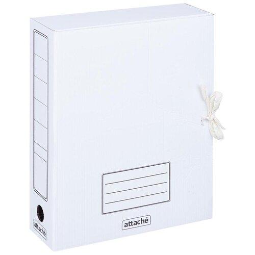 Купить Attache Папка-короб на завязках А4, 75 мм, картон белый, Файлы и папки