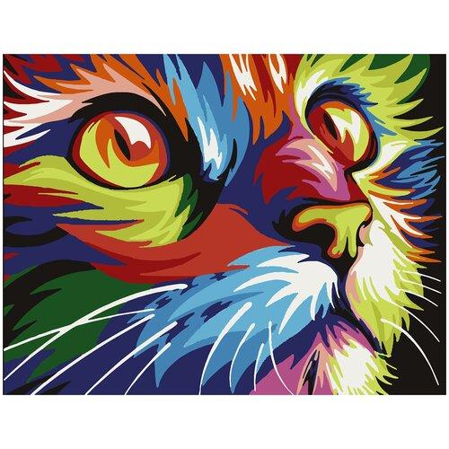 Купить Картина по номерам Радужный кот, 70 х 100 см, Красиво Красим, Картины по номерам и контурам